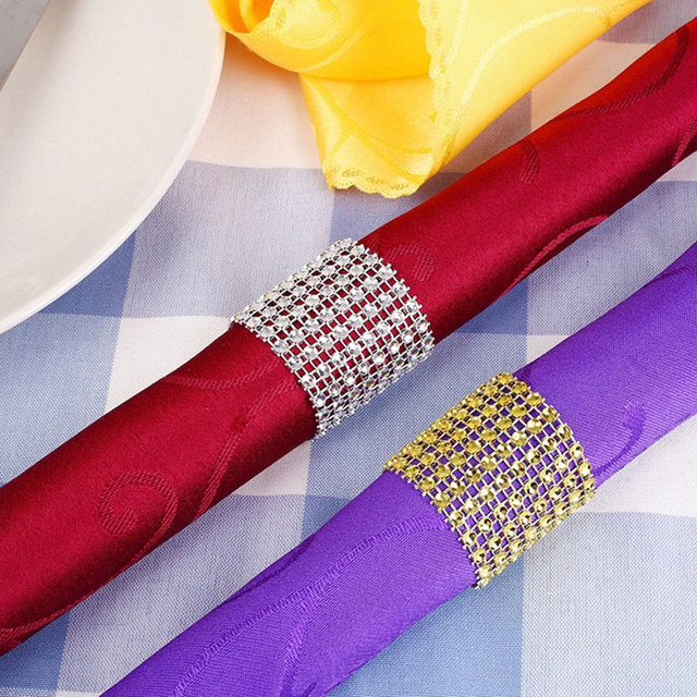 100 adet rhinestone peçete halkaları düğün masa dekorasyon festivali parti malzemeleri düğün havlu askısı ev dekor için