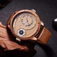 Oulm Sports Men Watches Two Different Time Zone Unique Calendar Quartz Watch Male Luxury Brand Big