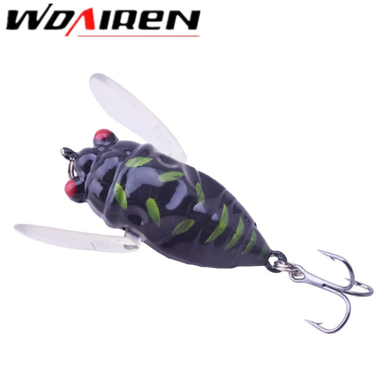 WDAIREN 1PC Perch Insect Bait 6g 4.7cm Fishing Lure Treble Barb Hook Fishing Tackle Artificial floating Bait Fishing Accessories 1pcs cicada 6g 4cm perch insect lure bait fishing lure treble barb hooks fishing tackle artificial bait fishing