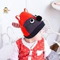 1-3Year Crianças Skullies Gorros Engraçados Dos Desenhos Animados Fox Forma Caps Crianças Ear Bonito Malha de Lã Grossa Chapéus Meninos Meninas Fotografia Props