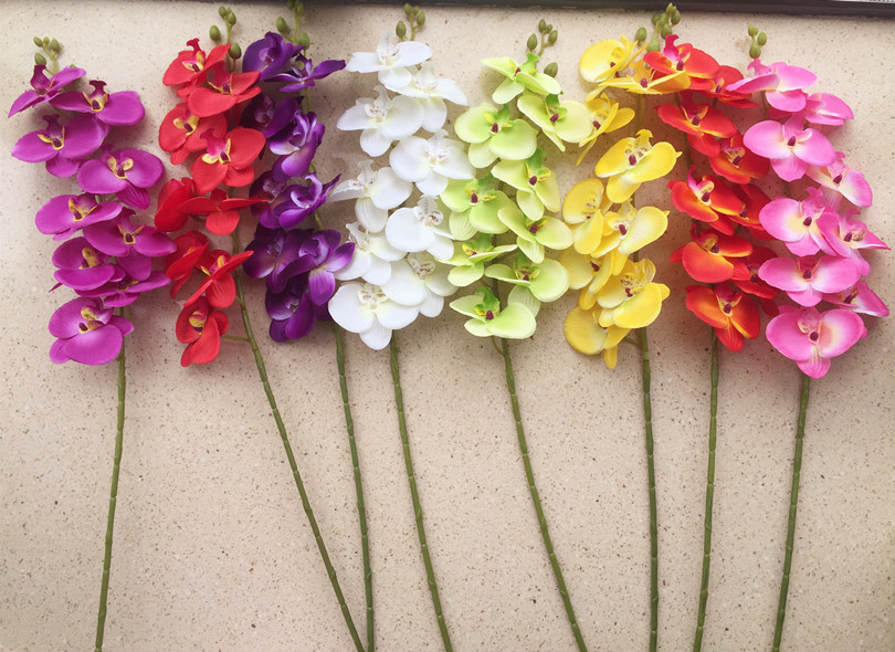 9 Heads Orchid Phalaenopsis Flower 10 Colors Fake Orchids For