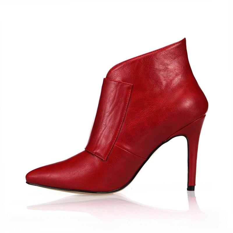 Sexy Tamaños Grandes i2 Zapatos Partido i3 Tobillo Vestido Toe Otoño Rxemzg Mujeres Hebilla Invierno Moda Punta Botas brown i1 Altos Black 2018 Tacones red 1xxfwaT6