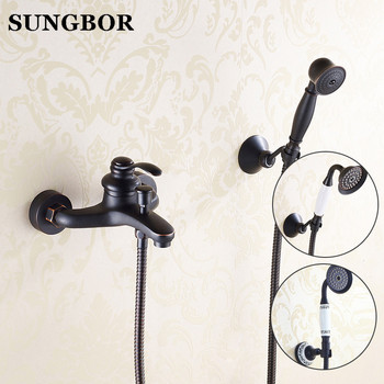 Black Brass Finish Bathroom Classic Shower Faucet Set /Wall Mounted Bathtub Faucet Mixers/handheld showers With Slide Bar