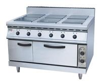 Electric 6 rectangular hot plates stainless steel cooking cooktop six cooking plates stove with BBQ cabinet oven