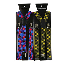 New Fashion2.5cm Wide Men Womens Adjustable Suspenders Red Plaids Clips On Y-Back Braces Elastic