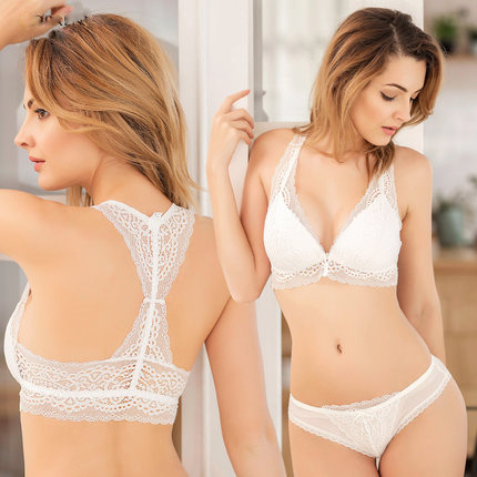b844458e65e Sexy Lace Wireless Open Bras Set For Women Push Up A B C Cup Embroidery  Plus Size Underwear ...