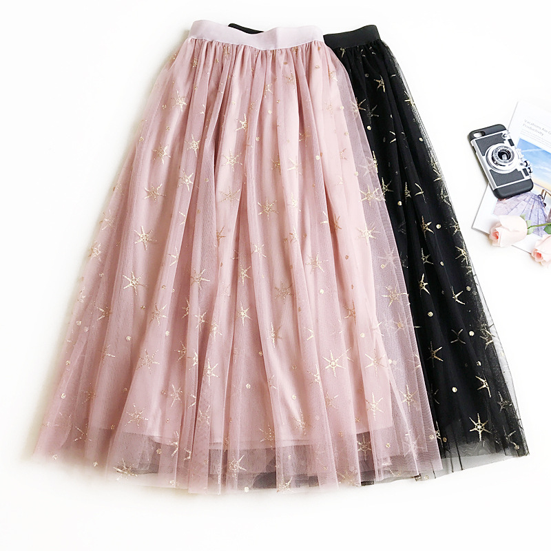 2018 Women Mesh Skirts Summer Women Long Skirt Fashion Star Bronzing High Waist Bohemian Women Khaki Skirts Femme Faldas Saias