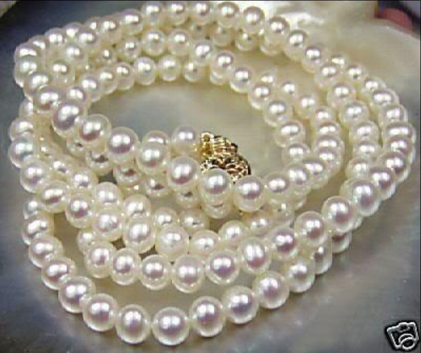 NEW Beautiful! 8-9mm White Akoya Cultured Pearl Necklace 32 >Dongguan girl jewerly Store