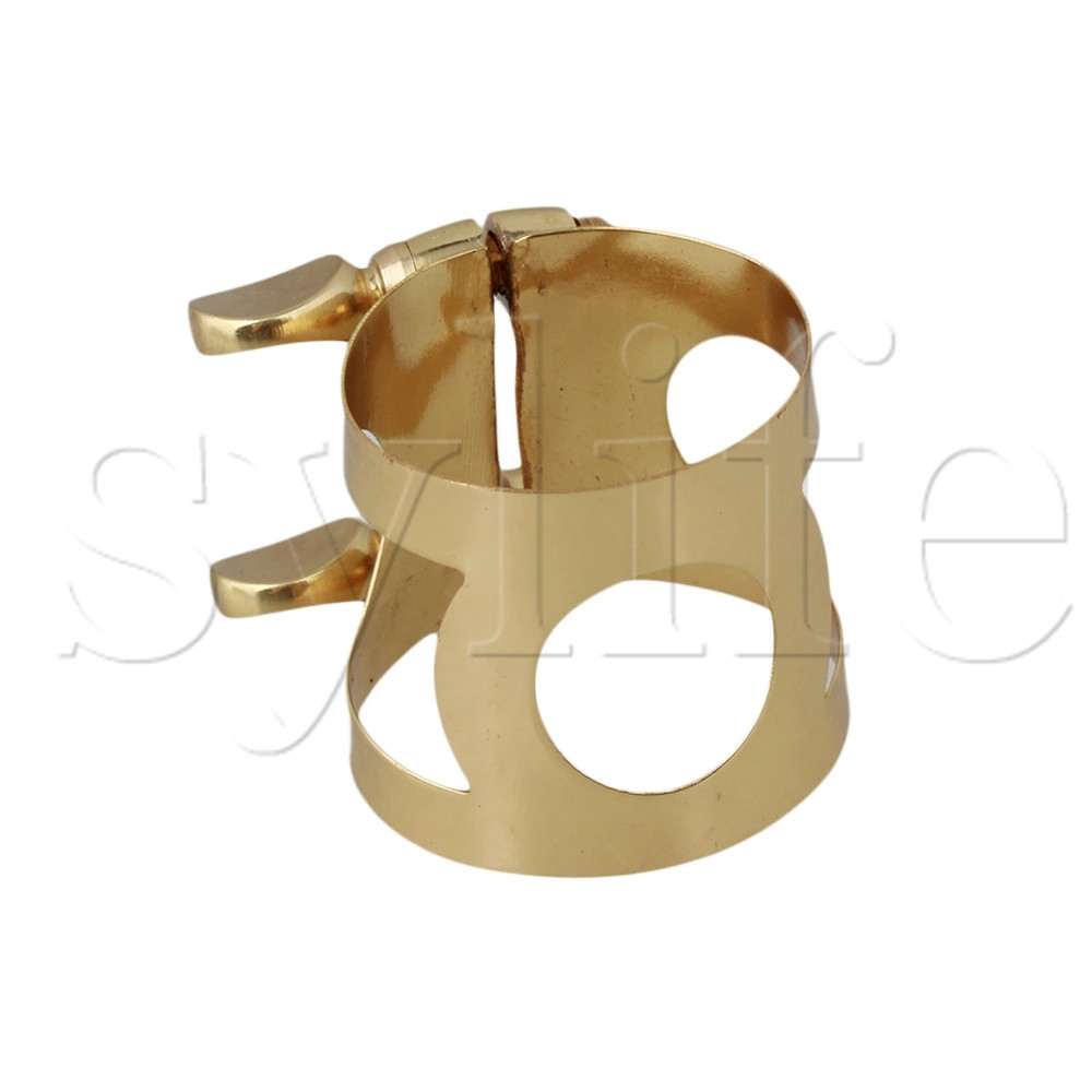 Gold Color Metal Tenor Saxophone Ligature With Double Screws Adjust