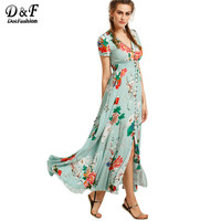 Dotfashion Casual Boho Dresses for Womens Dresses New Arrival Long Dresses Print In Green Short Sleeve Vintage Long Dress