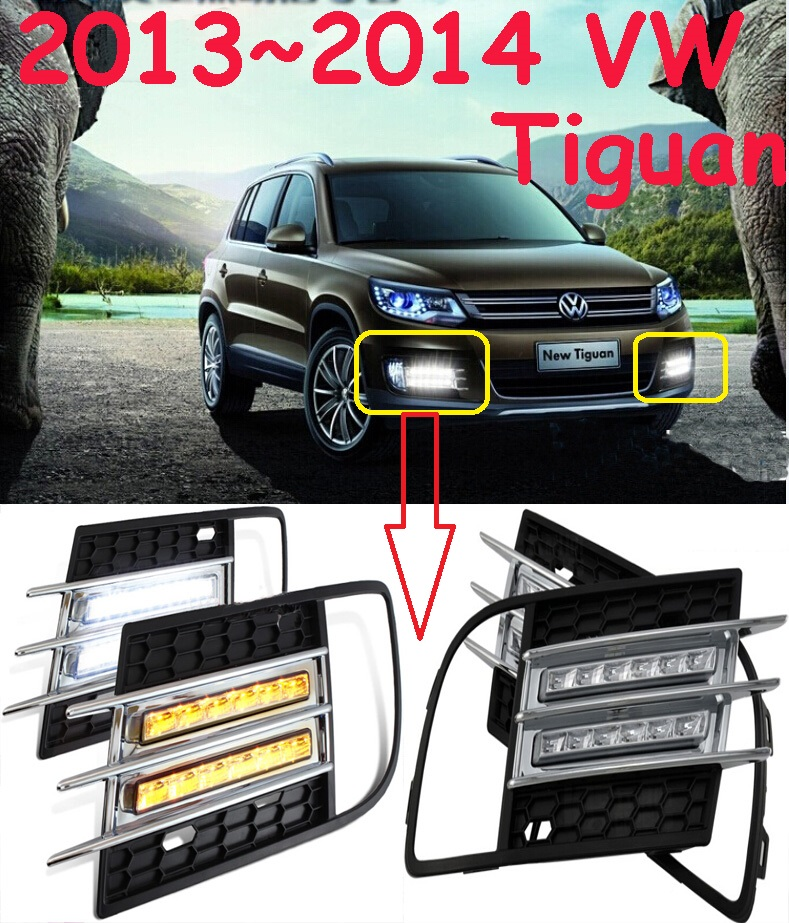 VW Tiguan Daytime light;2013~2015, Free ship!LED,VW Tiguan fog light,2ps/set;Tiguan,Touareg 2013 2016 innova daytime light free