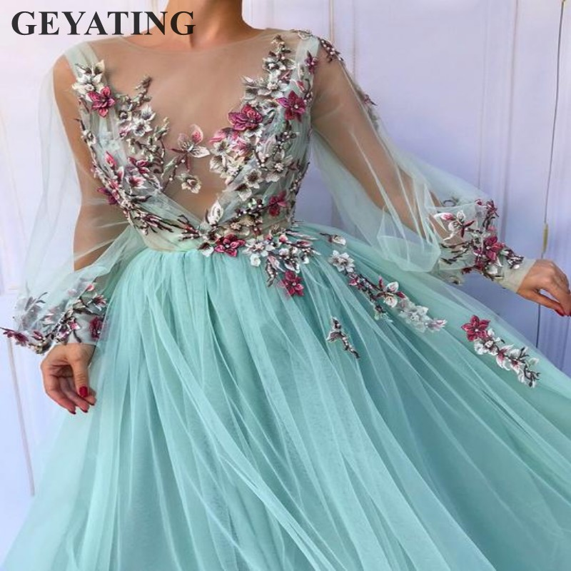 Turquoise Tulle   Prom     Dresses   Long Sleeves Illusion V-neck Handmade Embroidery flowers Sky Blue Long Party Evening   Dress   Elegant