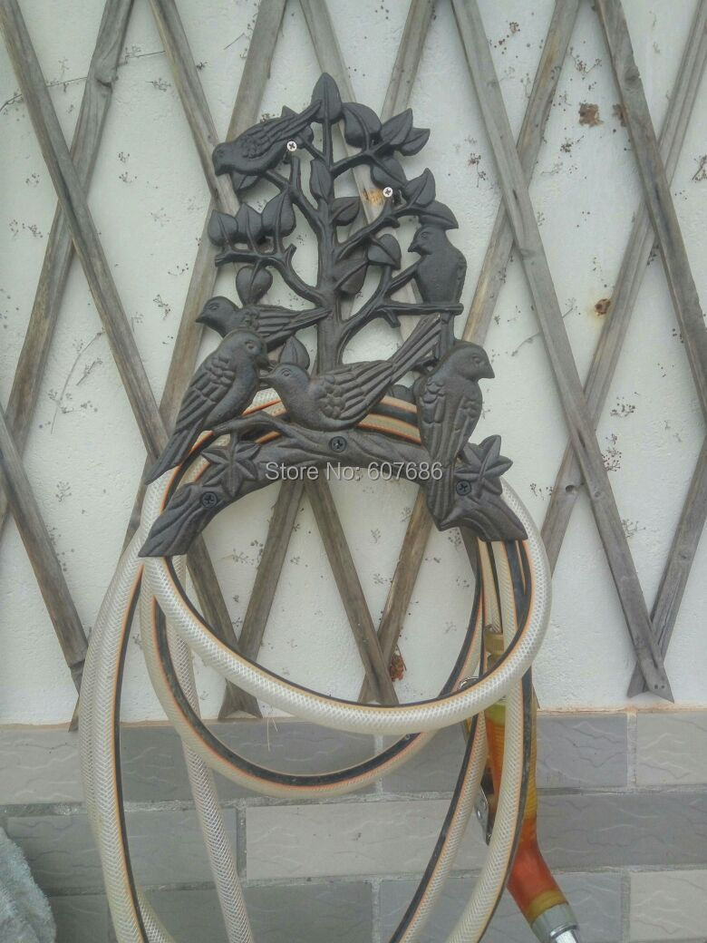 Country style cast iron birds on tree garden hose holder rustic cast iron wall mounted hose holder duck hosepipe pipe reel hose hanger rural garden yard patio lawn decor metal free shipping amipublicfo Image collections