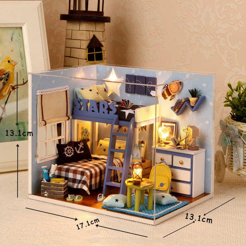 Mini Casa de Boneca Para Crianças Brinquedo De Madeira De Móveis Casas de Boneca Em Miniatura Miniatura Diy Brinquedos De Madeira Para Presente de Aniversário H05
