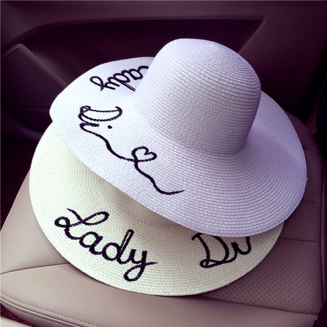 Hot Sell Adjustable Letter Embroidery Panama Hat Large Brim Sunbonnet Straw  Hat Women's Summer Sun Hat