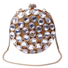 Woman evening bag brand fashion Europe and the United States Geometric heavy hollow diamond gem hand bag vintage party Clutch
