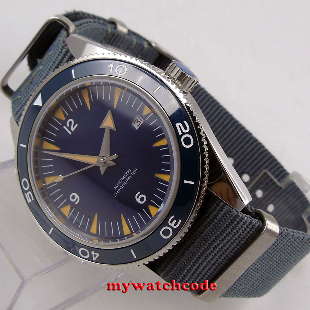 41mm debert blue dial 821A miyota luminous marks sapphire glass automatic mens Watch цена и фото