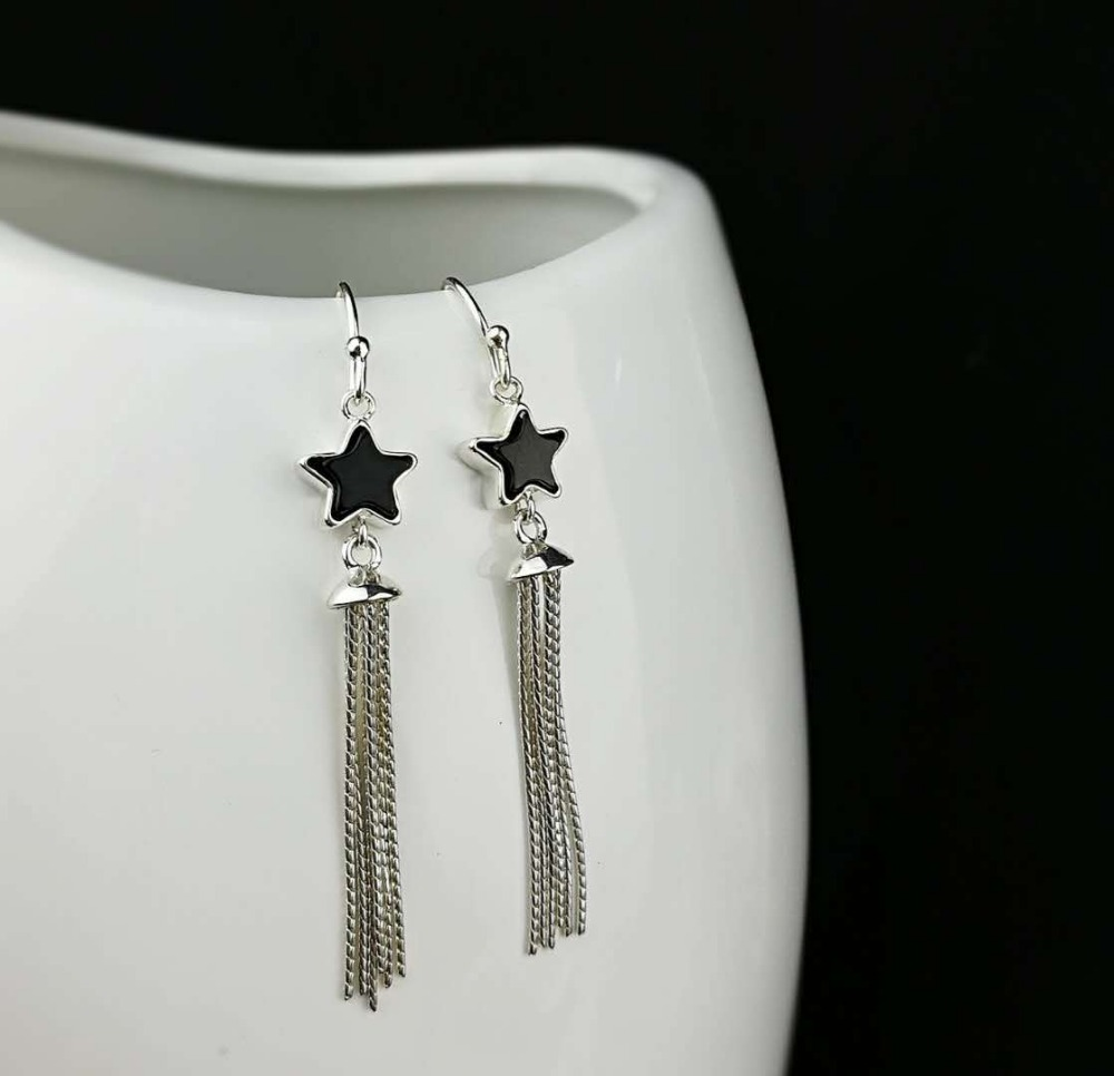 Fashion Royal Agate Gemstone 100% 925 Sterling Silver Earrings Tassels Star Drop Earrings Female Fine Jewelry bar hollowed star drop earrings