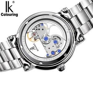 Image 5 - IK אוטומטי מכאני שעונים גברים מותג יוקרה עלה זהב מקרה אמיתי עור שלד שקוף חלול שעון 50m עמיד למים