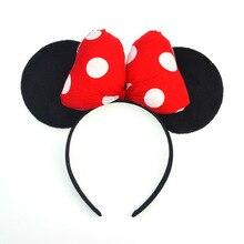 Милый Микки ободок для волос с украшением в виде мыши Розовые Уши повязка на голову бант аксессуары для волос на день рождения праздник уши Минни-Маус повязка на голову