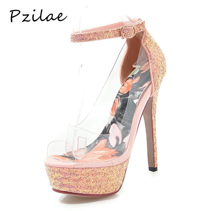 Super pink White Mince 2019 black silver forme Plate Femmes De Talons La red gold Pour À Mariage Cheville Pzilae Nouvelle Peep Pompes Toe Bride Chaussures Hauts FRxYYH