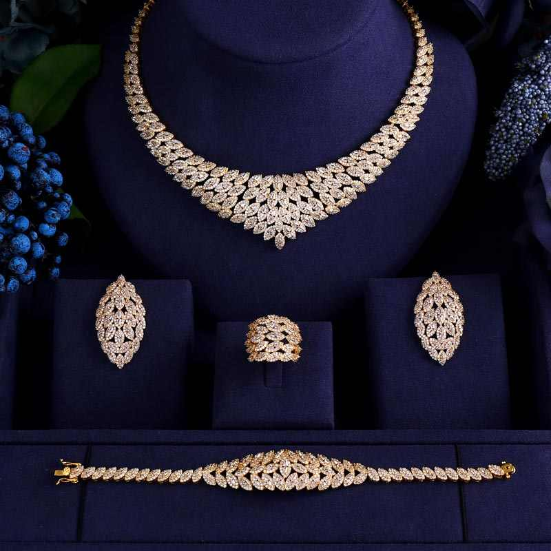 jankelly  Brass 4pcs Bridal Cubic Zirconia Jewelry Sets For Women Party, Luxury Dubai African CZ Stone Wedding Jewelry Sets