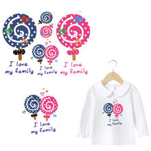 cute lollypop letters iron on patches for girs clothes family DIY iron stickers transfert thermocollants polo T-shirt accessory(China)
