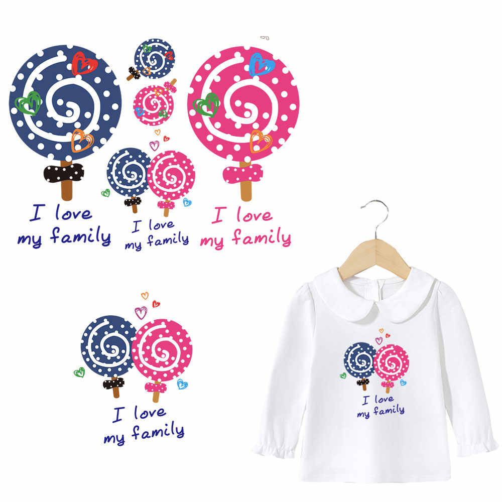 cute lollypop letters iron on patches for girs clothes family DIY iron stickers transfert thermocollants  polo T-shirt accessory