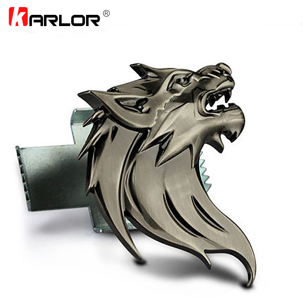 Rear Sticker Badge Car Sport Logo 3D Golden Left Wolf Head Metal Grille Emblem