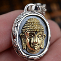 Handmade 925 Sterling Silver Buddha Pendant Gold Plated Head Shape Personality Fine Jewelry Bless Peace Explosion Evil