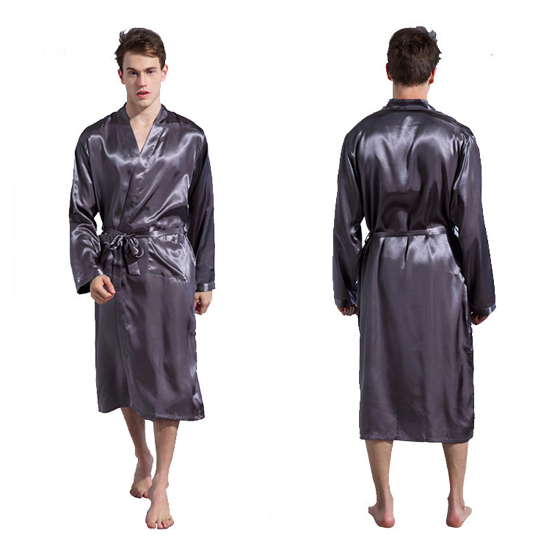 796f022681 Men `s Solid Robes Black Long Sleeve Men Robes Gown Loose Plus Size Male  Kimono Bathrobe Sleepwear Nightwear Pajamas S M L XL XXL