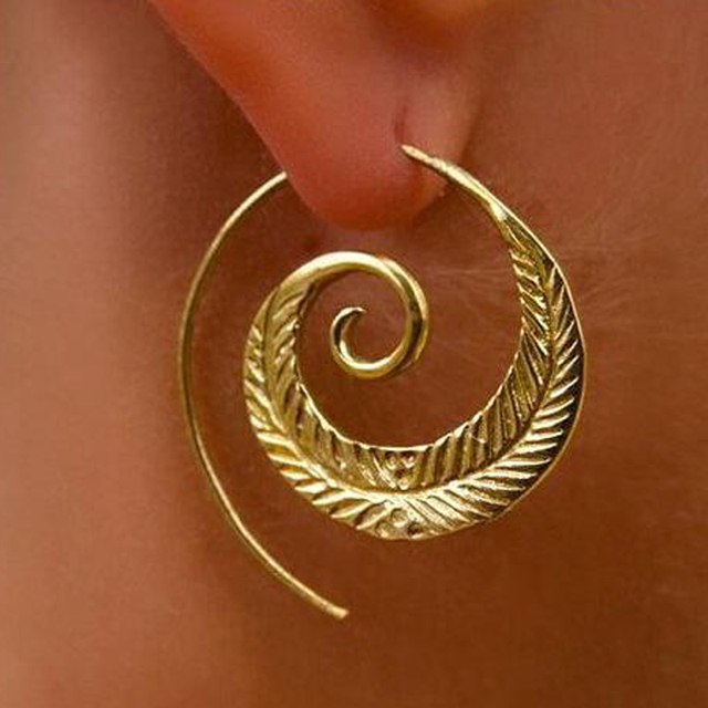 Naomy&ZP Bohemian Round Spiral Drop Earrings Big Ethnic Gold Silver Color Punk Whirlpool Gear Earrings for Women Fashion Jewelry 2