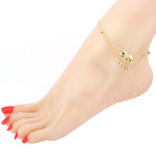 2016 New Fashion Elephant Gold Plated Anklets for women ,Beads , Mosaic Crystal Heart Shape Foot Chain jewelry
