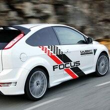 Наклейка для автомобиля с обеих сторон, стильный авто гоночный спортивный стиль, виниловая пленка для Ford Focus 2 3 MK2 MK3, аксессуары для тюнинга автомобиля