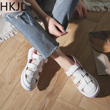HKJL white shoes womens spring/summer 2018 new Roman sandals flat casual all-purpose breathable student A204