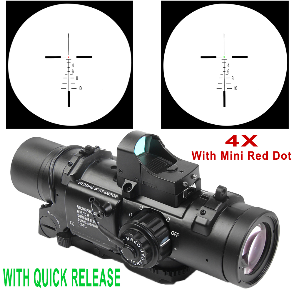Tactical 4x Fixed Dual Purpose Scope With Mini Red Dot Scope Red Dot Sight For Rifle Hunting Shooting CS Battle And Hunter tactical m4 1x33 red dot collimating sight with red and green illumination for hunting shooting hunting