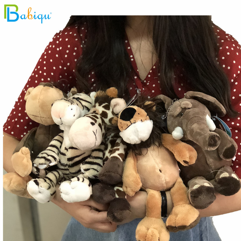 Babiqu 1pc 25cm Popular Forest Animals Stuffed Doll Plush Jungle Series Animal Lion Monkey Zebra Giraffe Elephant TOYS Kids Gift plush toya elephant plush lion stuffed and soft animal toys