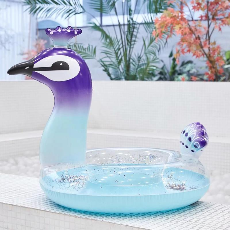 Summer Cute Animal Sequins Pool Inflatable Seat Float Funny Swimming Ring Water Toys Colorful Funny Gift Kids Beach Toys