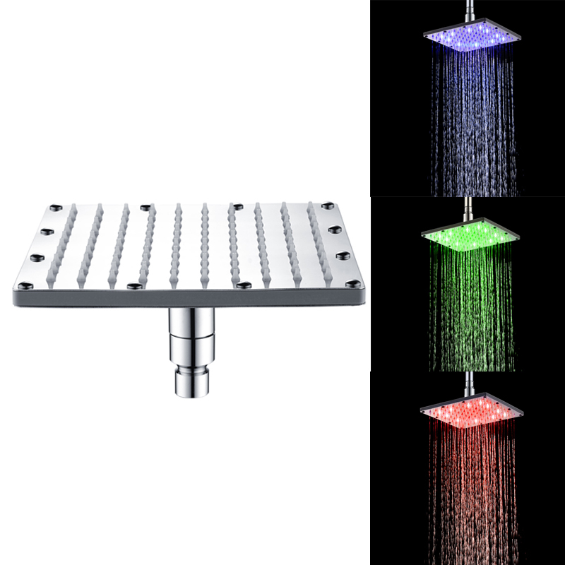 High Quality 6/8/10/12 inch Water Powered Rain Led Shower Head Without Shower Arm .Bathroom 3 Colors Change Led Showerhead