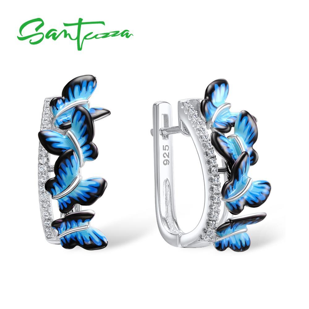 SANTUZZA Silver Örhängen För Kvinnor 925 Sterling Silver Stud Fjäril Örhängen Silver 925 Cubic Zirconia Brincos Smycken Emalj