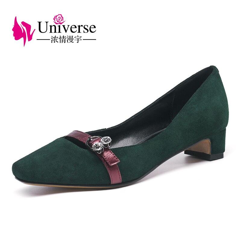 Univers élégant daim cuir femmes à talons bas pompes confortables chunky talon robe chaussures pour dames G301