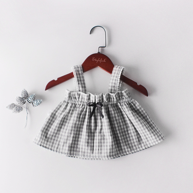 Summer girl set Style Baby Plaid Sleeveless Sling Jacket + Bread Trousers + Hairband Baby Girl Three-piece Suit