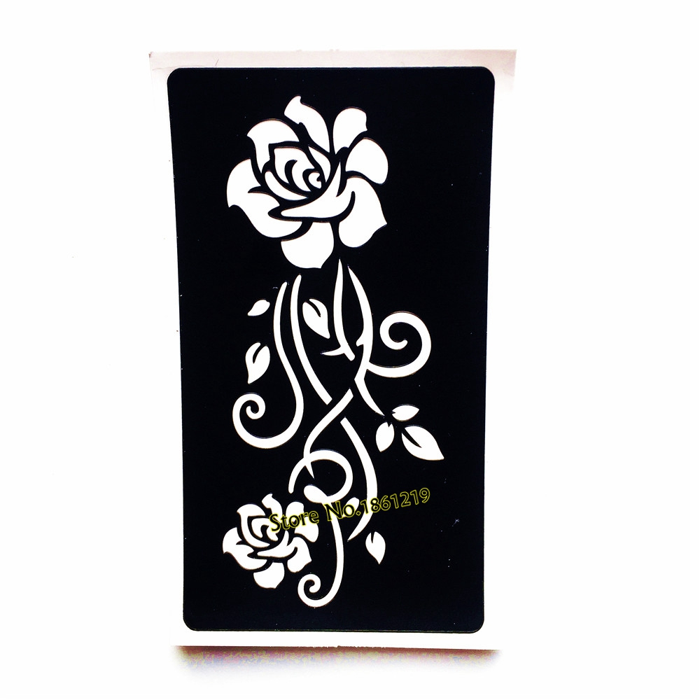 Henna Style Tattoos Lace Tattoo: Lace Mehndi Henna Tattoo Stencil Rose Flower Design Women