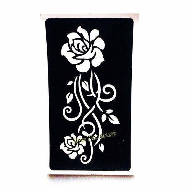 Renda Mehndi Henna Tattoo Stencil Rose Flower Desain Wanita Kembali