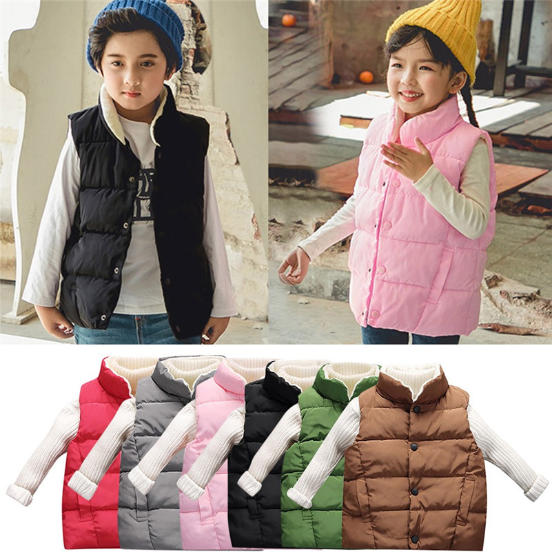 2018 New Style Children Winter wear      Children Boys Girls Winter Sleeveless Keep Warm Waistcoat Jacket  vestido infantil QC3 одежда на маленьких мальчиков
