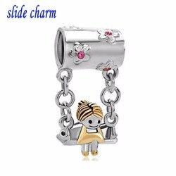 slide charm Free shipping Cute Mother's Girl Sitting On Swings Dangle Charm beads fit Pandora bracelet