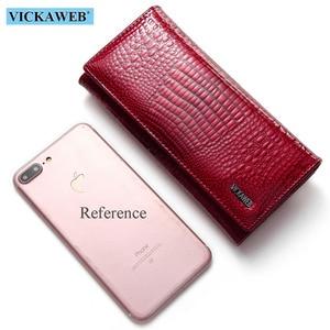 Image 4 - VICKAWEB Fashion Long Wallet Women Genuine Leather Alligator Womens Wallets And Purses Lady Hasp & Zipper Standar Wallet Female