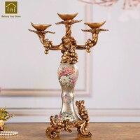3 Arm Candle Holder Wedding Decoration Candle Stand Romantic Decorative Home Chandelier Resin Luxury Candlestick Vintage JKL164