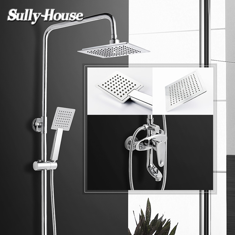 Sully House Brass Bathroom Shower Sets,Shower Room cubicle Enclosure Rainfall System,shower mixer,bath faucet,with hose/rod/head sognare new wall mounted bathroom bath shower faucet with handheld shower head chrome finish shower faucet set mixer tap d5205