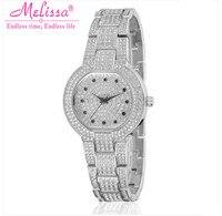 MELISSA New Stylish Women Vintage Bracelet Watches Luxury Full Crystals Dress Wrist watch Japan Quartz Reloj Montre Femme F8046